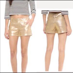 Alice + Olivia Gold  Linen Cady Shorts Size 4